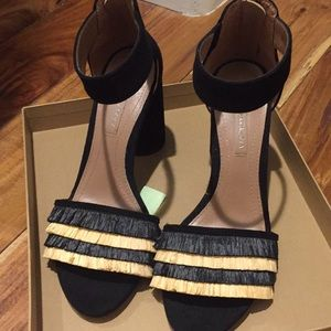 BCBGMaxAzria Shoes - Unworn suede black mid-heel sandals.